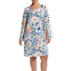 MSK Women Plus Size Floral Bell Sleeve Shift Dress